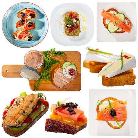 Set of various delicious sandwiches and canapes isolated on white background