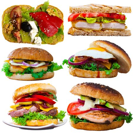 Collection of meaty and veggie burgers, sandwiches and toasts on white background    Stock Photo