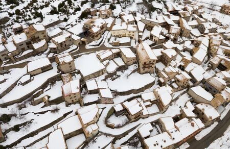 Houses and nature of ancient city  Gosol village  in Catalonia from high in winter