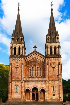 Picturesque summer landscape with monumental ancient temple Basilika de Santa Maria in Covadonga, Spain