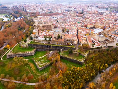 Aerial view of Pamplona – Spanish old town with running of the bulls