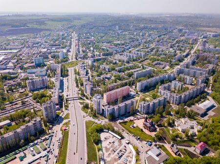 Scenic view from drone of modern cityscape of Russian city of Stary Oskol with Orthodox Cathedral of Alexander Nevsky