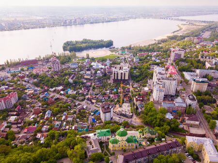 View from drone of historic center and residential areas of Voronezh city on bank of Voronezh River, Russia Фото со стока - 131734682