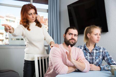 Bad domestic quarrel between family members at home Stock fotó