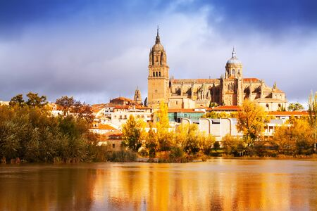 Day view of Salamanca Cathedral in autumn