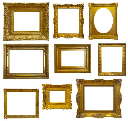 Zestaw luksusowej złoconej ramy. Pojedynczo na białym tle, może służyć do zdjęć lub obrazów