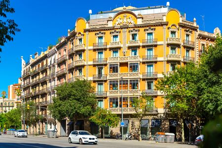 Picturesque colorful architecture of Eixample district streets in Barcelona on summer day, Spain Imagens