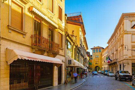 Beautiful picturesque old town street in Udine. Italy