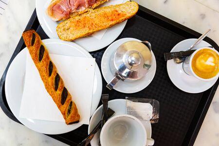 European breakfast for two in cafe