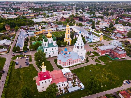 Scenic view from drone of Kolomna cityscape with architectural ensemble of ancient Kremlin on spring day, Russia