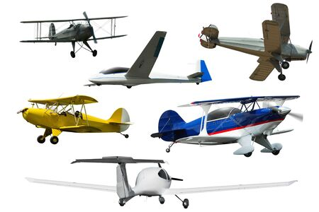 Collage of different modern airplanes isolated on white background