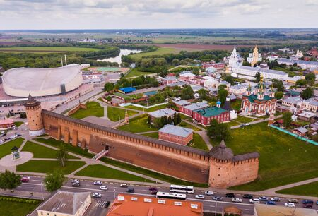 Picturesque view from height of the Kolomna Kremlin. Kolomna city. Russia