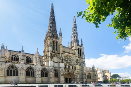 Summer view of building of Bordeaux Cathedral, Roman Catholic church in French city Bordeaux