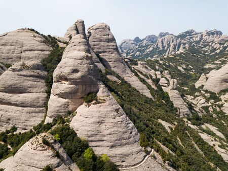 Panoramic view of famous Montserrat mountains, Catalonia, Spain