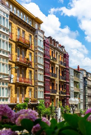 Modern view of medieval streets of Bilbao with traditional architecture, Spain
