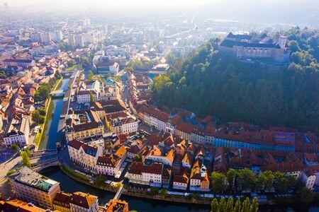 Panoramic aerial view of Ljubljana cityscape and river Ljubljanica, Slovenia
