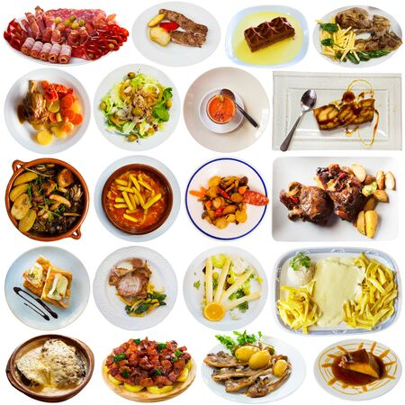 Set of various traditional dishes from Spanish cuisine isolated on white Imagens