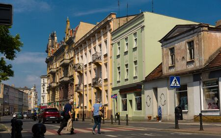 GNIEZNO, POLAND - MAY 11, 2018: View of picturesque central streets in sunny spring day