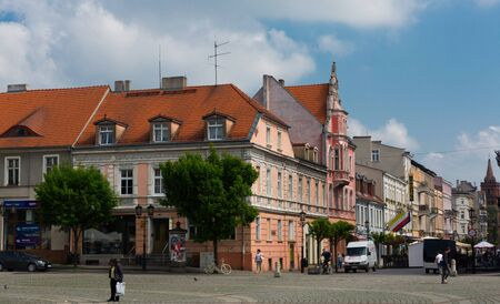GNIEZNO, POLAND - MAY 11, 2018: Cityscape of Gniezno historic center with vibrant streets Sajtókép