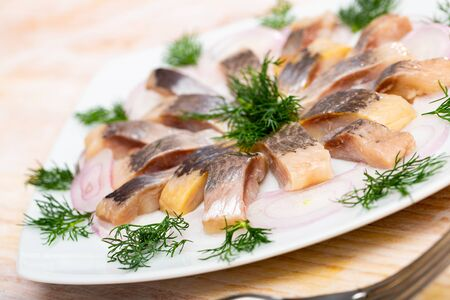 Fillet herring with dill and lemon