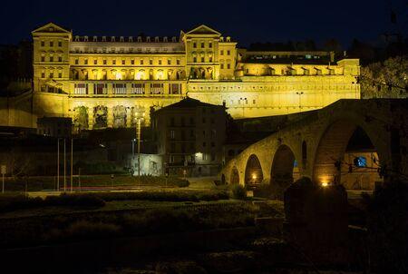 Church of Saint Ignatius with evening lights in Manresa