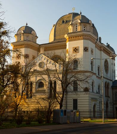 Synagogue is religion landmark of Gyor in Hungary outdoors. Stock Photo