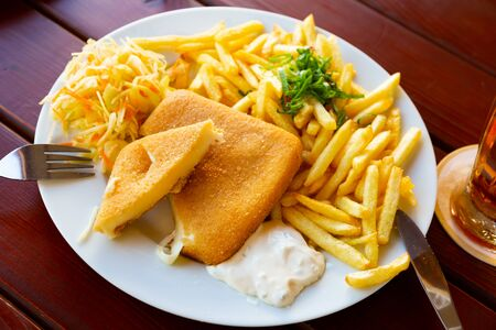 Tasty cheese in batter with garnish of crispy fried potatoes, delicate tartar and coleslaw
