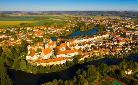Aerial view of historical centre of small Czech town of Telc, also called Moravian Venice because of its canals on sunny autumn day Stok Fotoğraf