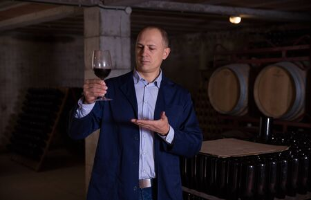 Professional sommelier tasting red wines in winery basement