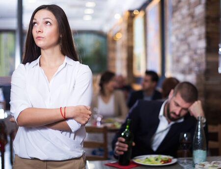 quarreled upset  in restaurant on celebrate