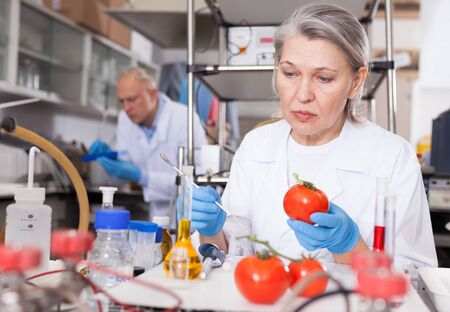 Mature female scientist checking fruits and vegetables for harmful elements, performing laboratory analysis of quality and purity of agricultural products