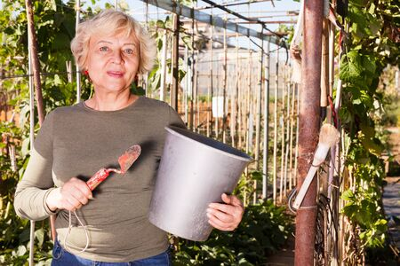 Smiling senior woman with various garden accessories in garden on sunny day Stock Photo