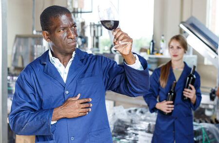 Positive male worker in uniform examining red wine in glass at winery