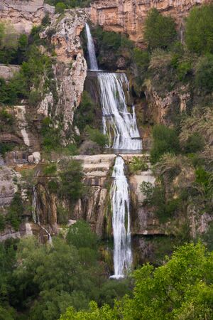 One of waterfalls near Sant Miquel del Fai monastery in Catalan pre-coastal mountain range, Spain