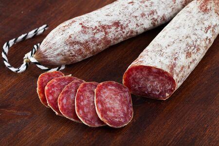 Appetizing slices of air-dried Spanish sausage Longaniza