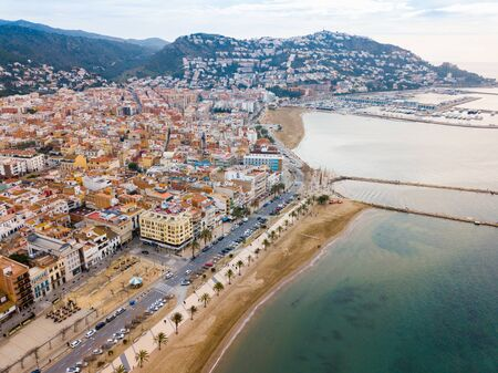 View from drone of tourist town of Roses, Costa Brava, Spain