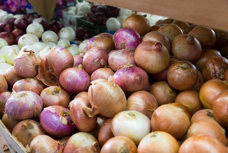 Fresh ripe onions in abundance, onion background Foto de archivo