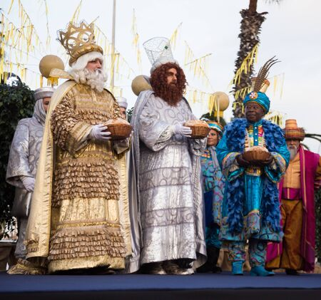 BARCELONA, SPAIN –  JANUARY 5, 2017: Greeting of three Magi (Melchor, Baltasar and Gaspar) citizens and visitors of Barcelona. Barcelona, Spain Publikacyjne
