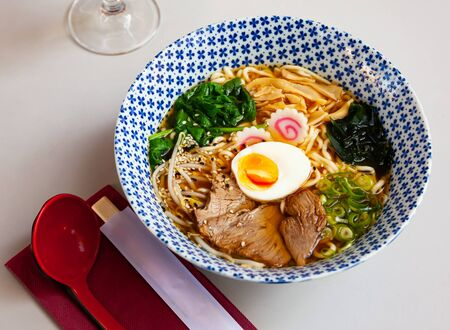 Traditional japanese thick ramen with veal. Japanese cuisine