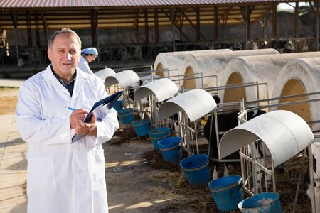 Male quality expert is standing in uniform at the cow farm.