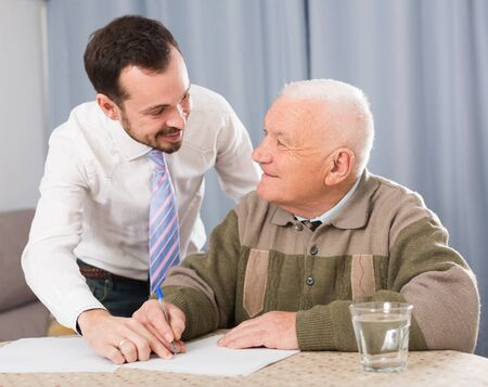 Retired and social department employee complete questionnaire