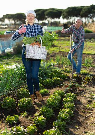 Family harvesting vegetables in the garden 스톡 콘텐츠