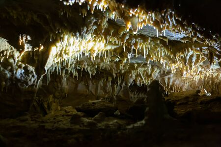 Formations inside Balcarka Cave (Moravian Karst) in Czech Republic Stock Photo
