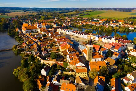 Top view from the drone on the city Telc. Czech Republic