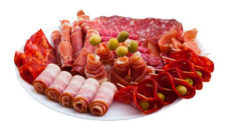 Chorizo, fuet, jamon, salami, bacon, spanish meat antipasto platter. Isolated over white background