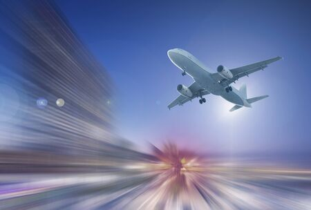 Airplane flying with dynamic colorful motion blur abstract background