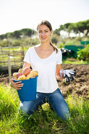 Young woman harvesting potatoes in the garden