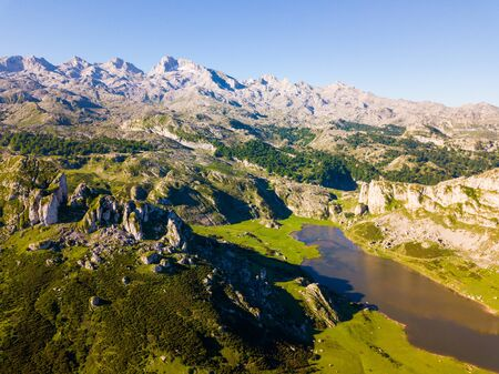 Panoramic view with mountain lakes of Covadonga at Picos de Europa range, Spain