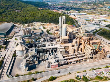 Aerial view of cement production plant