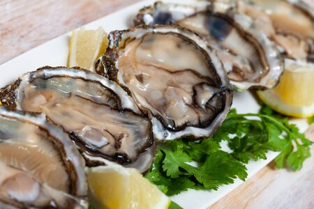 Opened raw oysters with lemon and parsley